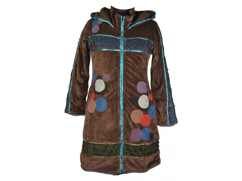Sametový  kabátek s kapucí, hnědý, pletené prostřihy, kruhové aplikace a lemován