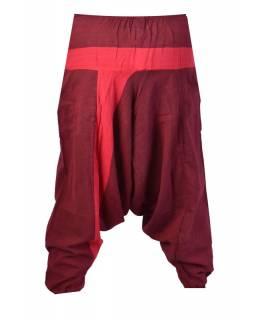 Vínovo-červené turecké kalhoty s kapsami, elastický pas