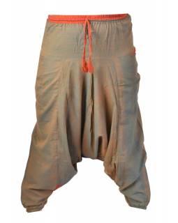 Oranžovo-zelené turecké kalhoty s kapsami, elastický pas