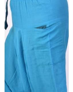 Modré turecké kalhoty s kapsami, elastický pas