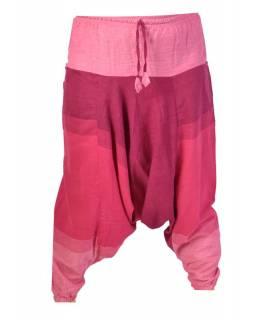 Růžovo-fialové turecké kalhoty s kapsami, elastický pas