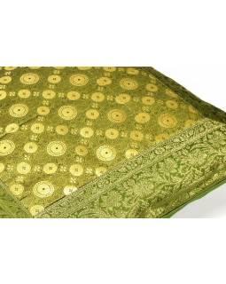 Povlak na polštář, zelený, vzor kolečka, zlatá výšivka, 50x50cm