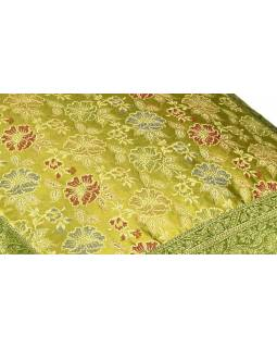 Povlak na polštář, zelený, květinový vzor, zlatá výšivka, 50x50cm