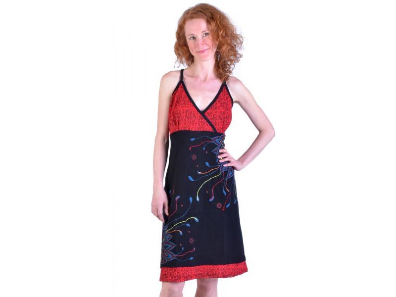 Černo-červené krátké šaty na ramínka, potisk a výšivka