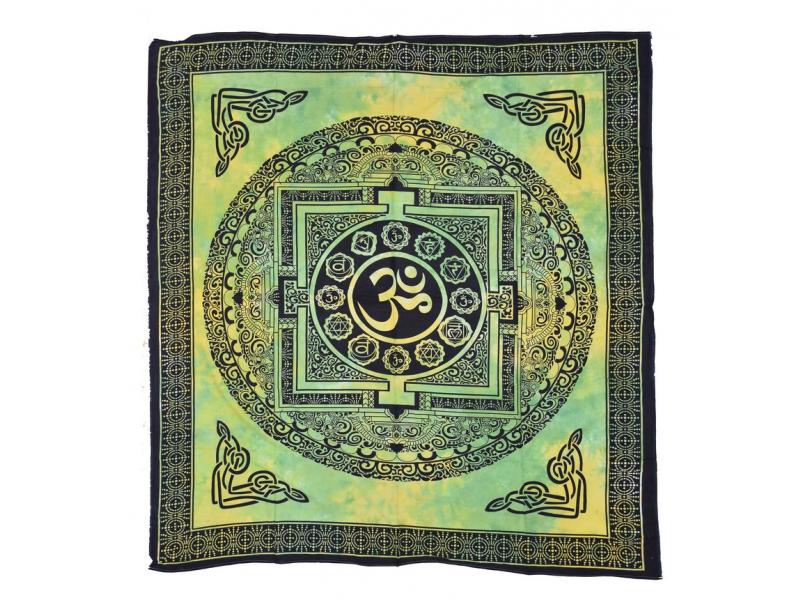 Žluto zelený přehoz na postel, černý tisk, tibetská mandala, 205x240cm