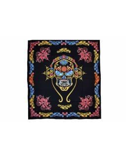 Černý přehoz s lebkou, barevný potisk, 200x230cm