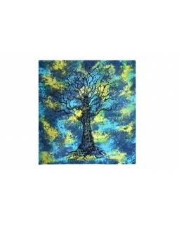 Modro zelený batikovaný přehoz se stromem, 220x202cm