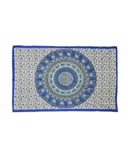 Krémový přehoz na postel, modrá sloní mandala, 140x200cm