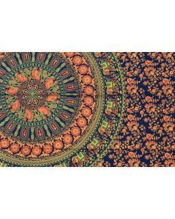 Přehoz na postel, modro-oranžový, sloni a květiny, 130x210cm
