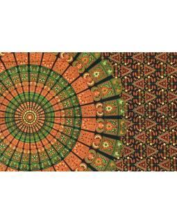 """Přehoz na postel """"Barmery round"""" květiny, modro-zelený 130x210cm"""