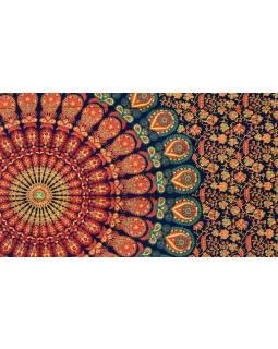 """Přehoz na postel """"Barmery round"""" paví pera, modro-oranžový 130x210cm"""