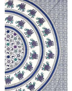 """Přehoz se slony """"Maharaja"""" modré barvy,  220x210cm"""