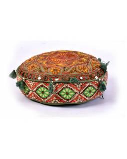Zelený meditační polštář, ručně vyšívaný Gujarat Design, kulatý, 40x12cm