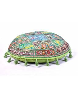 Zelený meditační polštář, ručně vyšívaný Kutch Design, kulatý, 75x 25cm