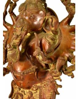 Mosazná soška Ganeši, stojící, 20x51cm