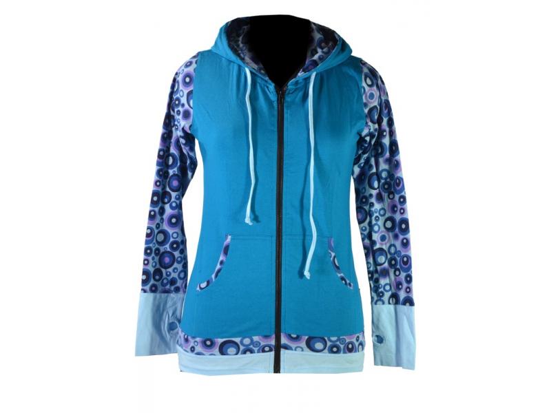 Tyrkysovo modrá mikina s kapucí, potisk bublinek, zapínání na zip, kapsy