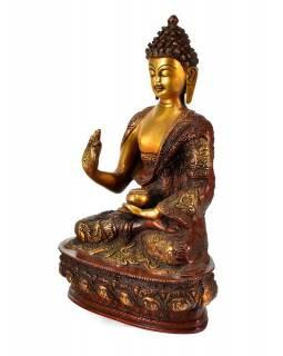 Mosazná soška, Buddha Amoghasiddhi, červená patina, 20x32cm