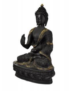 Mosazná soška, Buddha Amoghasiddhi, černá patina, 21x31cm