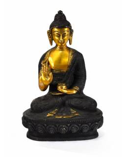 Mosazná soška, Buddha Amoghasiddhi, černá patina, 14x21cm