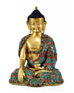 Mosazná soška Buddhy Šakjamuniho, zdobená polodrahokamy, 19x25cm