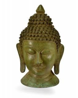 Mosazná hlava Buddhy, zelená patina, 15x25cm