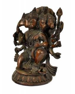 Mosazná soška Hanuman, 5 hlav,  20x28cm
