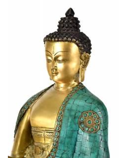 Mosazná soška, Buddha Amoghasiddhi zdobený polodrahokamy, 26x40cm