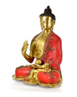 Mosazná soška, Buddha Amoghasiddhi zdobený polodrahokamy, 27x34cm