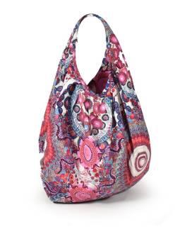 Růžová velká taška s potiskem, zapínání na zip, uši