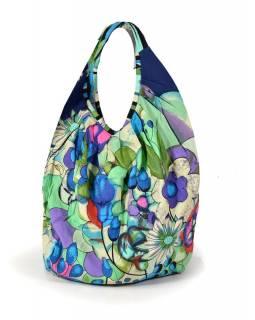 Tmavě modro-zelená velká taška s potiskem květin, zapínání na zip, uši