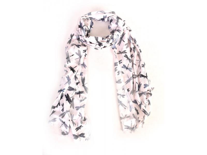 Šátek s potiskem šedo-černých vážek, bílý 180x70cm