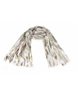 Šátek, bavlna, bílý, barevný potisk peří, 70x180cm