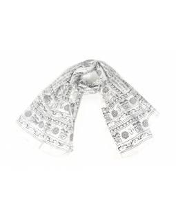 Šátek s mantrou, bílý s černým potiskem, 190x70cm
