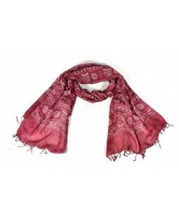 Šátek s mantrou, vínový s bílým potiskem, 190x70cm