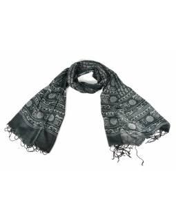 Šátek s mantrou, černý s bílým potiskem, 190x70cm