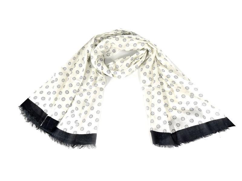 Šátek s kolečky, černý lem, 180x70cm