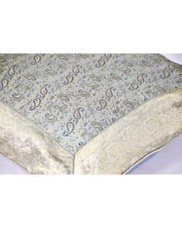 Povlak na polštář, stříbrný, paisley vzor, zlatá výšivka, 50x50cm