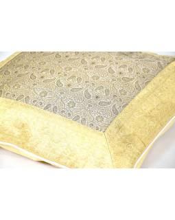 Povlak na polštář, krémový, paisley vzor, zlatá výšivka, 50x50cm