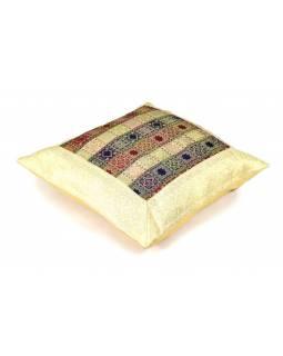 Povlak na polštář, krémový, čtverečkový vzor, zlatá výšivka, 50x50cm
