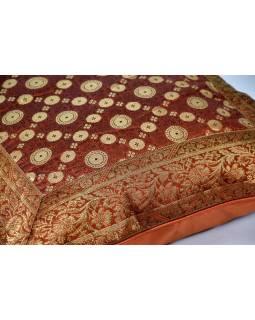 Povlak na polštář, oranžový, kolečkový vzor, zlatá výšivka, 50x50cm
