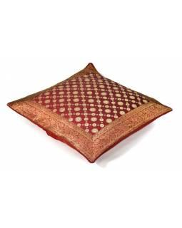 Povlak na polštář, vínový, kolečkový vzor, zlatá výšivka, 60x60cm
