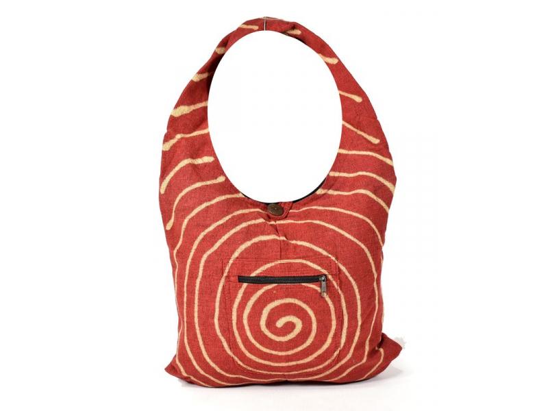 Vínová taška přes rameno se spirálou, bavlna, široký popruh, kapsa, 40x35cm