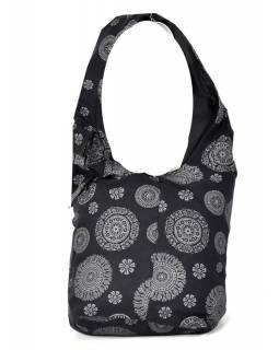 Černá taška přes rameno s potiskem mandal, bavlna, popruh, kapsa, 40x35cm