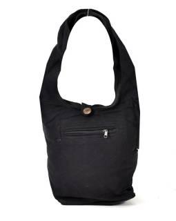 Černá taška přes rameno, bavlna, popruh, kapsa, 40x35cm