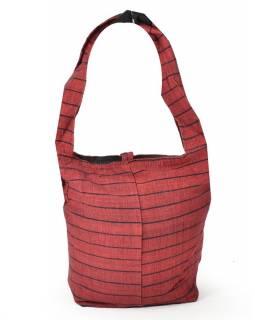 Vínová pruhovaná taška přes rameno, bavlna, popruh, kapsa, 40x35cm