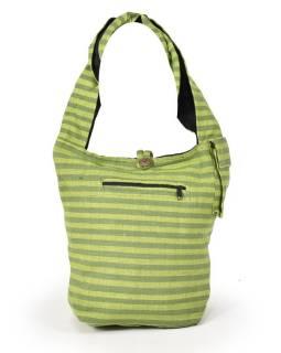 Zelená pruhovaná taška přes rameno, bavlna, popruh, kapsa, 40x35cm