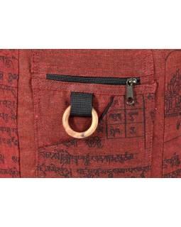 Vínová taška přes rameno, potisk mantra, bavlna, popruh, kapsa, 40x35cm