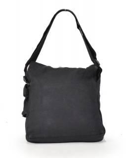 Hnědá taška přes rameno s potiskem květin, bavlna, popruh, kapsa, 37x35cm
