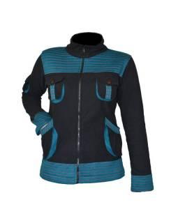 Černo petrolejová bunda s kapsami a ozdobným prošíváním, zapínání na zip