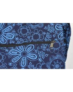 Modrá taška přes rameno s potiskem květin, bavlna, popruh, kapsa, 37x35cm